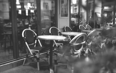 building, cafe, bar, restaurant, black and white, tables, chairs, outside, monochrome, business, cafeteria, seats
