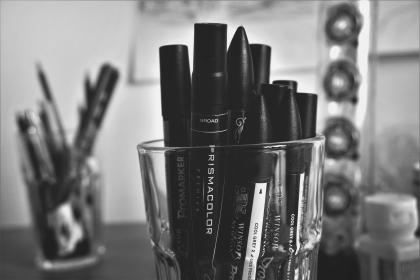 black and white, glass, pens, marker, school, office, supplies