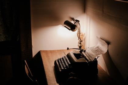 dark, room, office, table, chair, lamp, light, typewriter, paper, wall