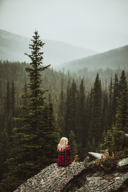 girl,   blonde,  plaid,  flannel,  mountains,  forest,  trees,  alberta,  nature,  earth,  mountain,  woman,  beautiful,  cloudy,  fog, people, rock, hiking, trekking, camping, wilderness