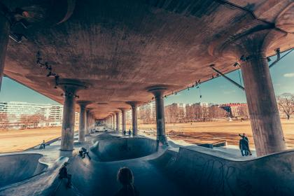 architecture, building, structure, establishment, skateboard, people, sport, hobby, exhibition, slide, slope, pillar, building