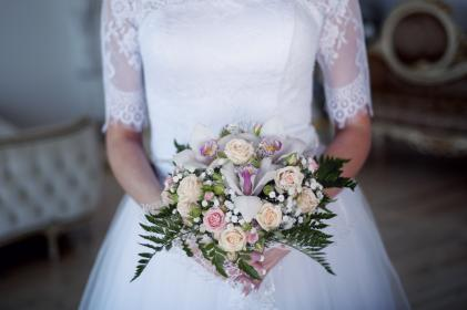 people, woman, bride, wedding, marriage, bouquet, love, intimate, dress, gown, flowers, green, leaves, rose, pink, yellow