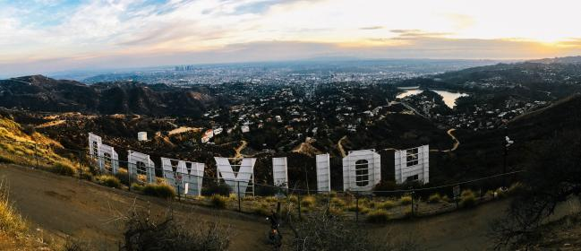 hollywood, city, urban, montains, trees, clouds, sky, path, back, road, font, signage, hollywood, highland