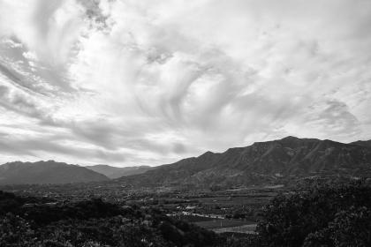 Ojai, California, landscape, mountains, hills, valleys, fields, rural, sky, clouds, cloudy, black and white