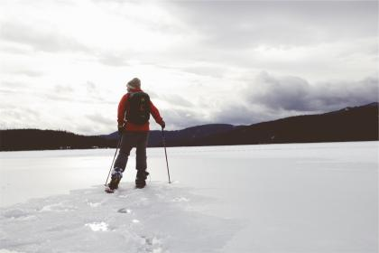 cross country, skiing, winter, snow, ice, sports, backpack, knapsack, frozen, lake, mountains, outdoors, toque, cold, guy, man, people, fitness