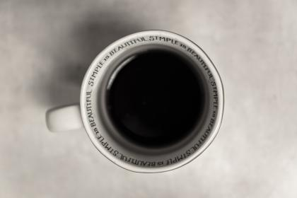 still, items, things, drink, beverage, cup, coffee, aerial, top, view, quotes, excerpts, simple is beautiful, white, black