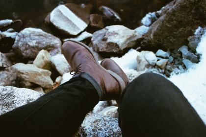 feet, leather, boots, pants, rocks, people, man, lace, shoes, sole