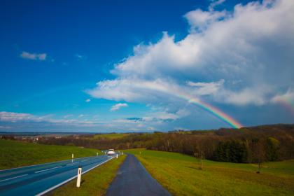 nature, paths, roads, streets, grass, trees, rainbow, sky, clouds, horizon