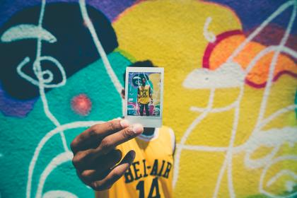 polaroid, photo, picture, guy, man, people, graffiti, art, mural, colors, colours, hands, urban