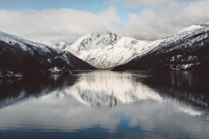nature, landscape, mountain, clouds, sky, river, lake, travel, adventure, reflection