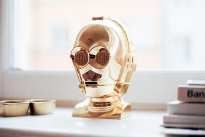 robot, gold, decoration, art, table, house, home, design, books, window, reflection, shiny