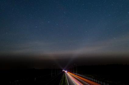 dark, night, road, lights, highway, sky, stars
