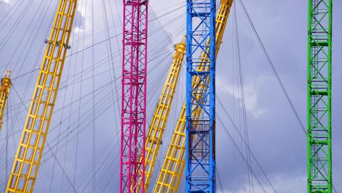 colors, yellow, pink, blue, green, boom, wires, metal