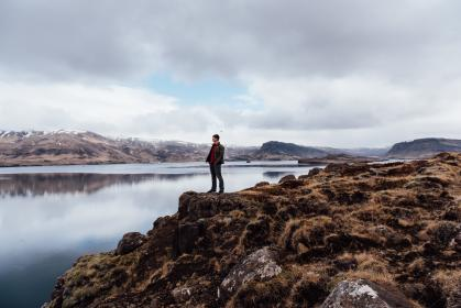 mountain, highland, hill, rock, landscape, people, man, alone, travel, cloud, sky, lake, water, reflection