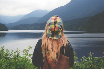 lake, water, green, grass, trees, plant, nature, forest, mountain, highland, landscape, outdoor, travel, people, woman, girl, backpack, cap