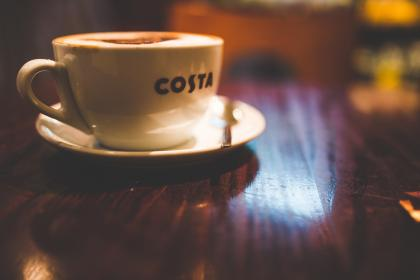 coffee, shop, costa, cup, saucer, table, light