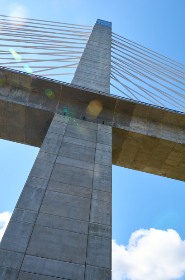 bridge,  sky,  maine,  lens,  flare,  penobscot,  narrows,  clouds,  blue,  low angle,  observation,  tower,  architecture,  design