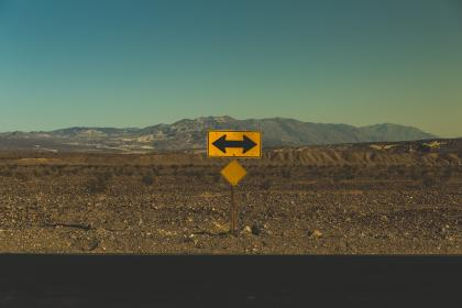 signage, road, mountains, sky, adventure, travel, trip, arrow, clouds, sand