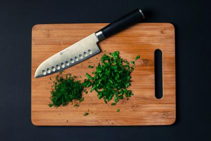 cutting board, knife, chopped, parsley, dill, ingredients, food, healthy, chef, kitchen