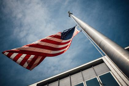 building, structure, flag, pole, rope, america, sky, usa