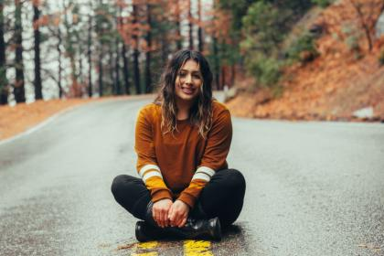people, girl, woman, sitting, road, street, autumn, trees, plants, nature, travel, outdoor
