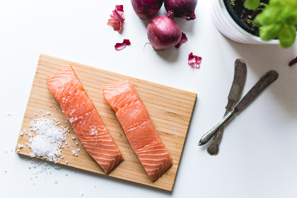salmon, filets, salt, cutting board, kitchen, chef, cooking, ingredients, onions, vegetables, fish, food