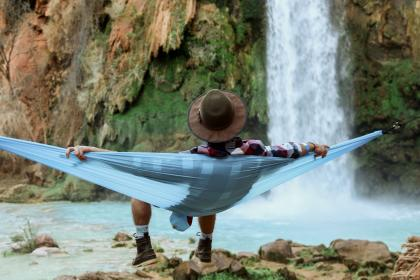 people, man, chill, relax, hammock, nature, landscape, woods, forest, water, falls, rock, stone