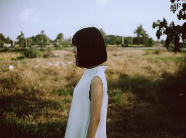 woman, girl, lady, people, side, view, profile, style, fashion, grass, trees, sky, asian, bokeh
