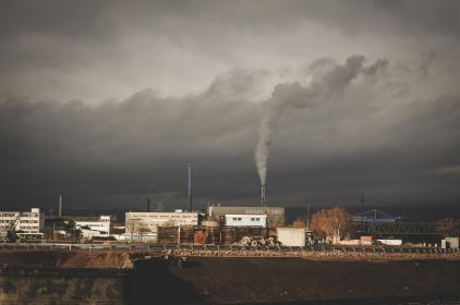 architecture, building, infrastructure, chimney, smoke, plant, clouds, sky