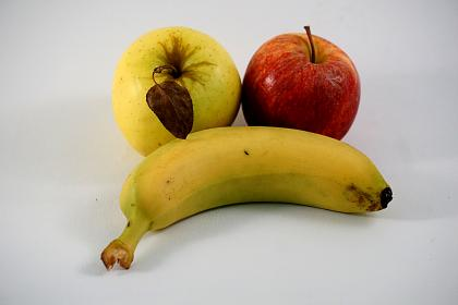 fruit, banana, apple, pears, red, yellow, food, plant, fresh, nourish, leaf
