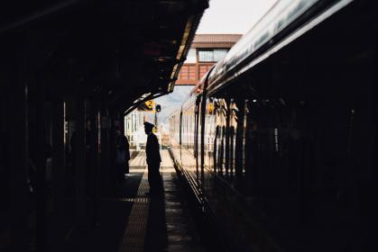 trail, train, station, people, man, ride, transportation, guard, security, silhouette