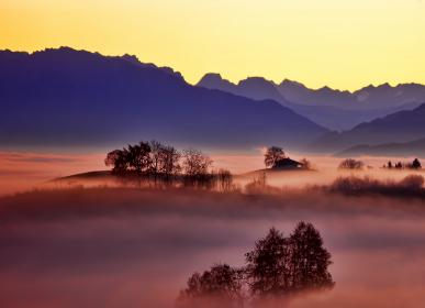 mountain, highland, landscape, fog, sky, trees, plant, nature, outdoor, view, valley
