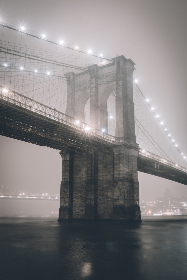 brooklyn,  bridge,  city,  new york,  fog,  mist,  night,  lights,  moody,  nyc,  america,  downtown,  landmark,  architecture,  water,  structure