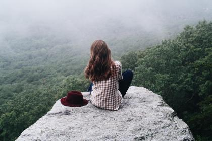 girl, woman, people, brunette, long hair, rock, mountains, cliff, trees, forest, woods, nature, landscape, outdoors, adventure
