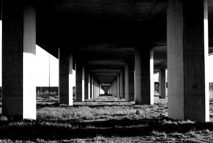 architecture, structures, bridges, modern, art, paths, walkways, lines, patterns, light, shadows, perspective, posts, black and white