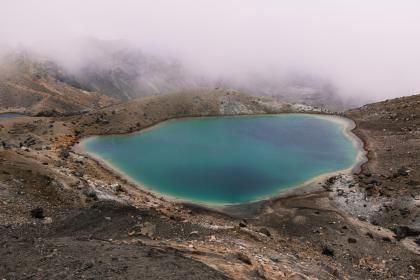 people, man, woman, hiking, mountain, mountain climber, water, valley, swimming, mountaineer, fog, nature, trip, travel, adventure