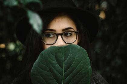 green, leaf, plant, nature, people, woman, girl, sunglasses, hat, beauty, makeup