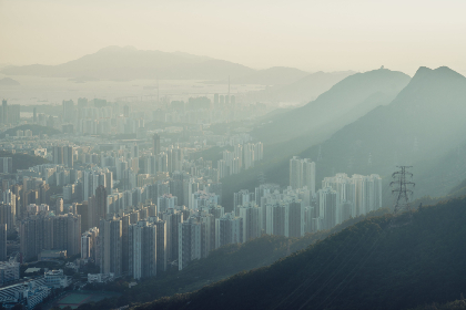 city,  hong kong,  buildings,  busy,  downtown,  landscape,  aerial,  scenic,  view,  smog,  skyscrapers,  mountains,  suburb,  cityscape,  tourism,  travel