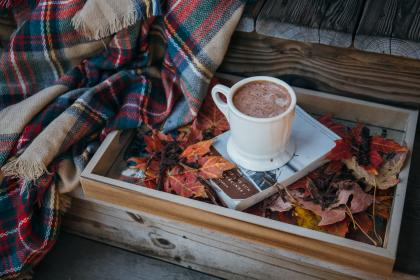 book, knowledge, coffee, drink, wooden, box, cloth, leaf, fall