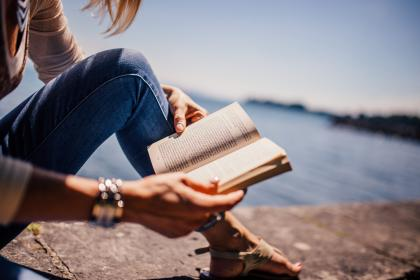 reading, book, girl, woman, people, sunshine, summer, lake, water