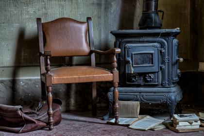 chair, old, papers, books, mess, drawer, antique,bag, wall, dirt, dust, web, wood