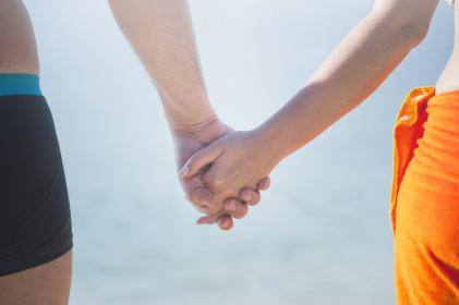 man, woman, holding hands, sky, couple