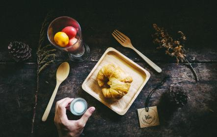 croissant, bread, display, table, glass, fruit, food, tag, hand, wooden, spoon, fork