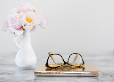 reading,   glasses,   table,   lenses,   fashion,   accessory,   close up,   eyeglasses,   object,   vase,   flowers,   minimal