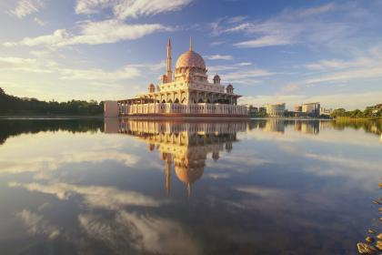building, lake, reflection, architecture, infrastructure, trees, view, mosque, sky, clouds