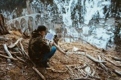 people, woman, travel, adventure, tablet, nature, landscape, roots, trees, woods, forest, mountain