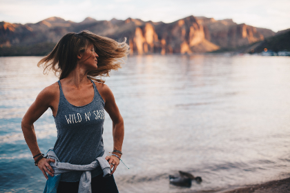 woman,  workout,  lake,  yoga,  female,  water,  river,  calm,  sunset,  rock,  rockface,  sport,  people,  hair,  beauty,  jog
