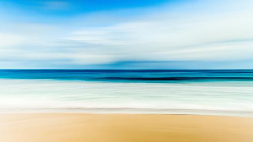 beach, sand, shore, ocean, sea, water, horizon, blurry