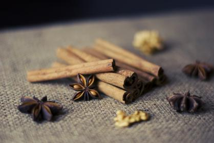 cinnamon sticks, anise, nuts, spices