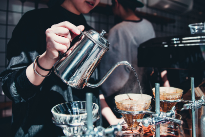 barista,  pouring,  coffee,  kettle,  woman,  restaurant,  beverage,  drink,  hot coffee,  latte,  espresso,  fresh coffee,  brew,  cafe,  person